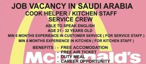 cook helper or kitchen staff or service crew
